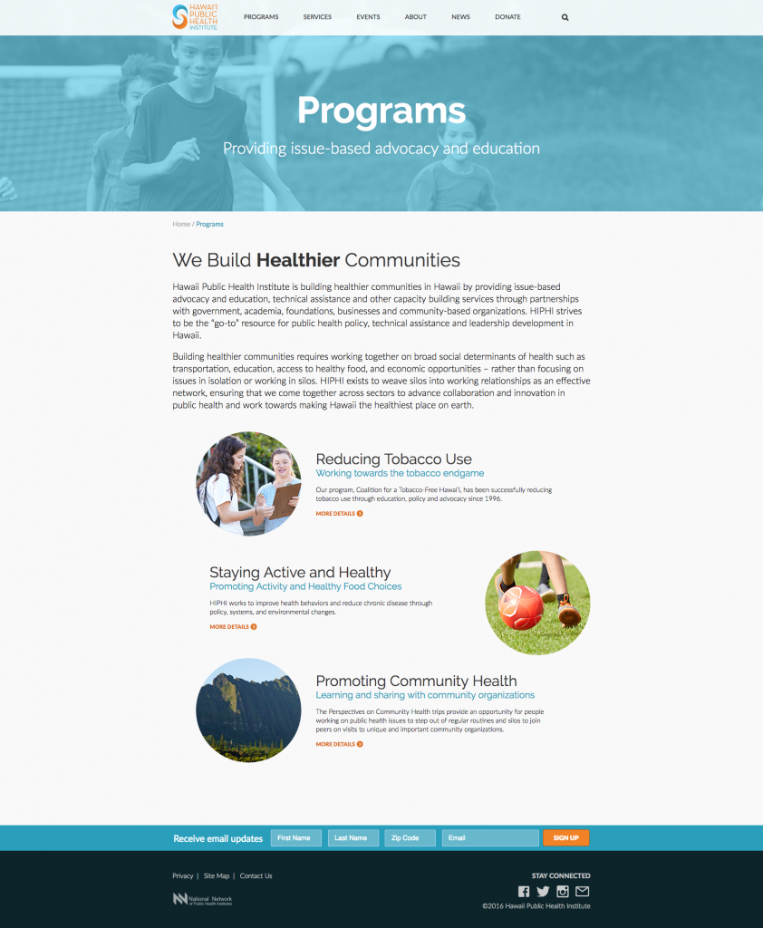 Program Overview Page Layout