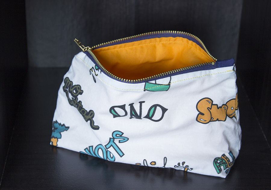 Local Slang Zipper Pouch with Colored Lining