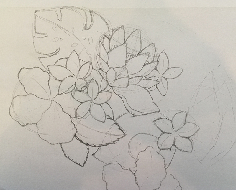 Sketch of Floral Pattern