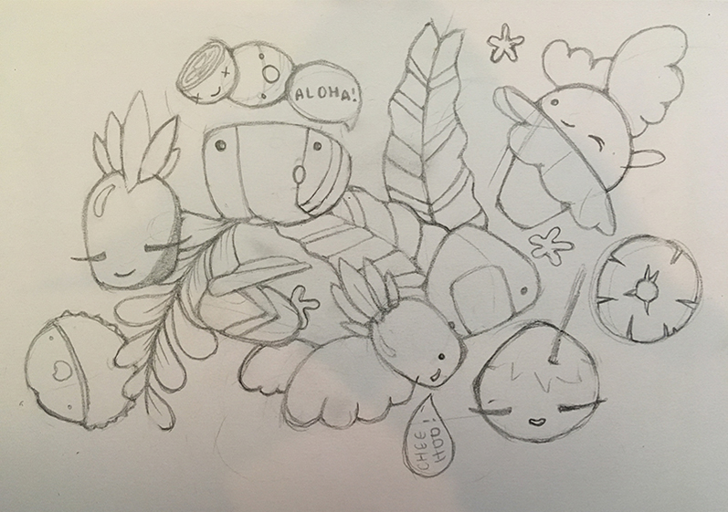 Sketch of Kawaii Hawaii